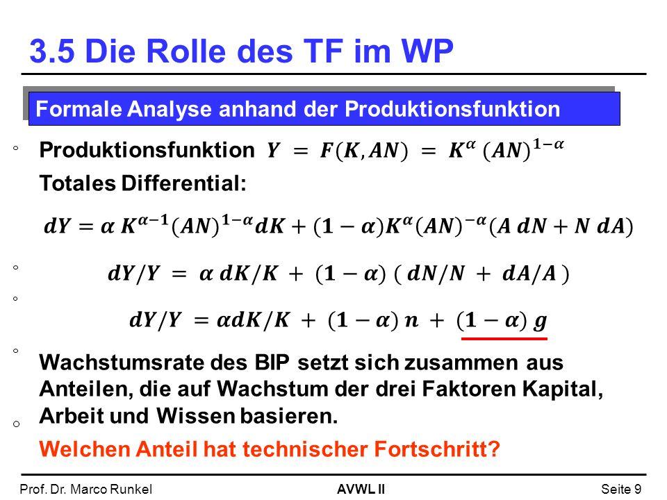 3.5 Die Rolle des TF im WP Formale Analyse anhand der Produktionsfunktion. Produktionsfunktion 𝒀 = 𝑭(𝑲,𝑨𝑵) = 𝑲 𝜶 (𝑨𝑵) 𝟏−𝜶.