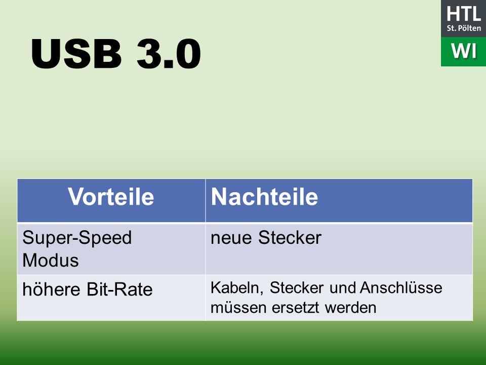 USB 3.0 Vorteile Nachteile Super-Speed Modus neue Stecker