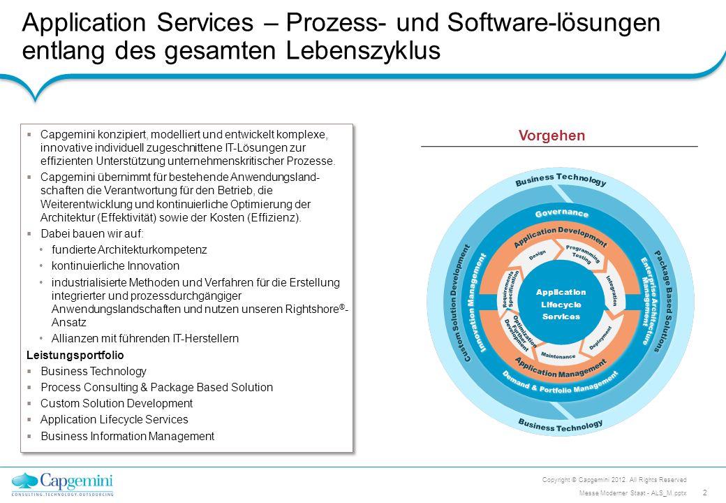 Application Services – Prozess- und Software-lösungen entlang des gesamten Lebenszyklus