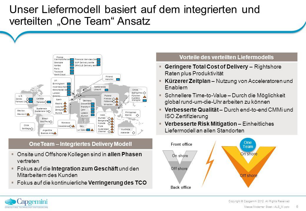"""Unser Liefermodell basiert auf dem integrierten und verteilten """"One Team Ansatz"""