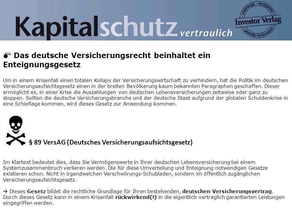 N§ 89 VersAG (Deutsches Versicherungsaufsichtsgesetz)