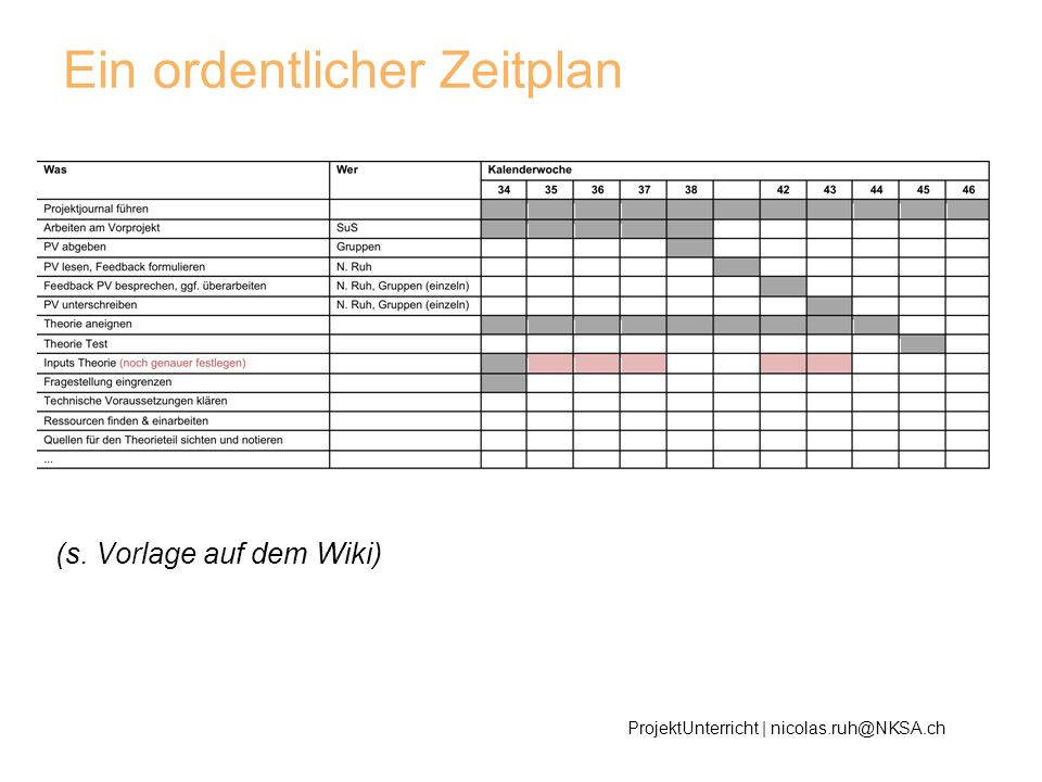 Ein ordentlicher Zeitplan