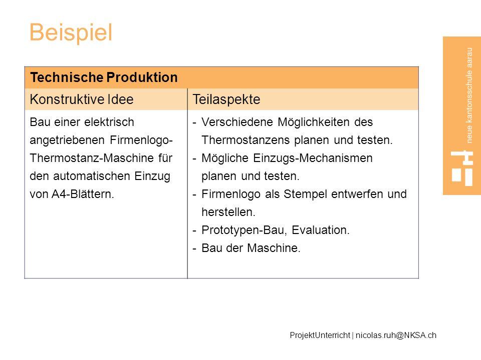 Beispiel Technische Produktion Konstruktive Idee Teilaspekte