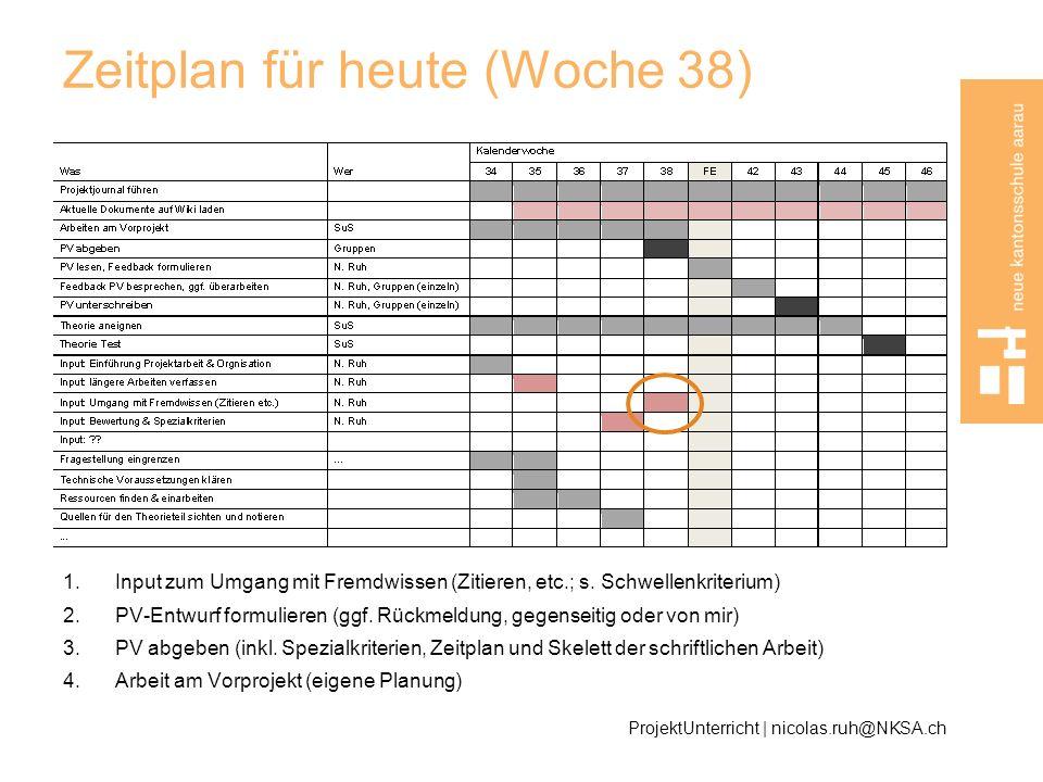 Zeitplan für heute (Woche 38)