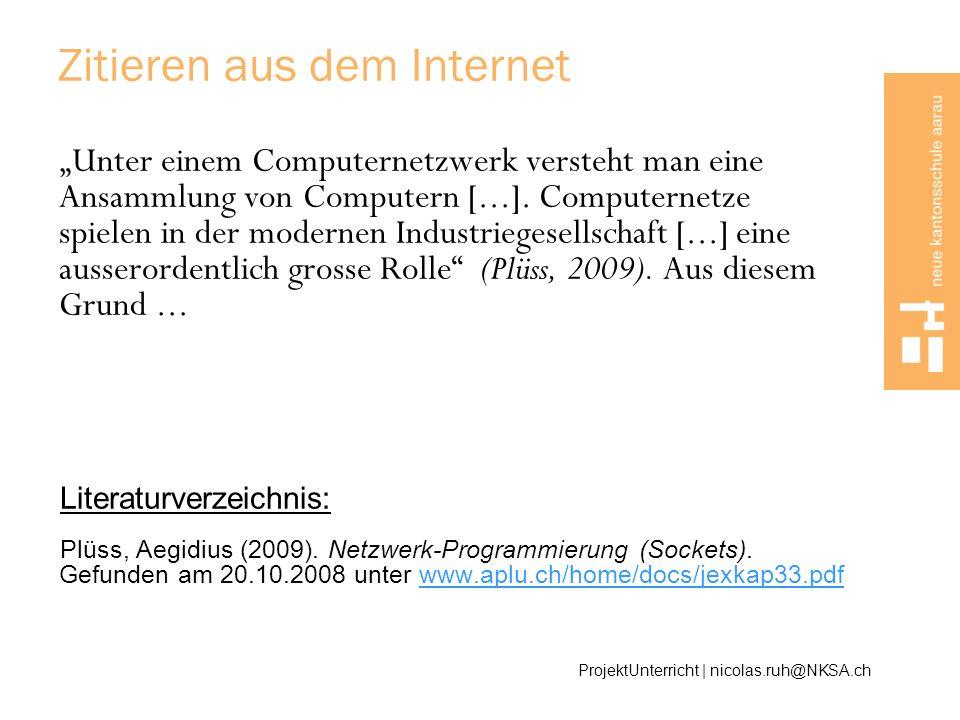 Zitieren aus dem Internet