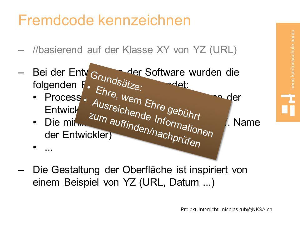 Fremdcode kennzeichnen