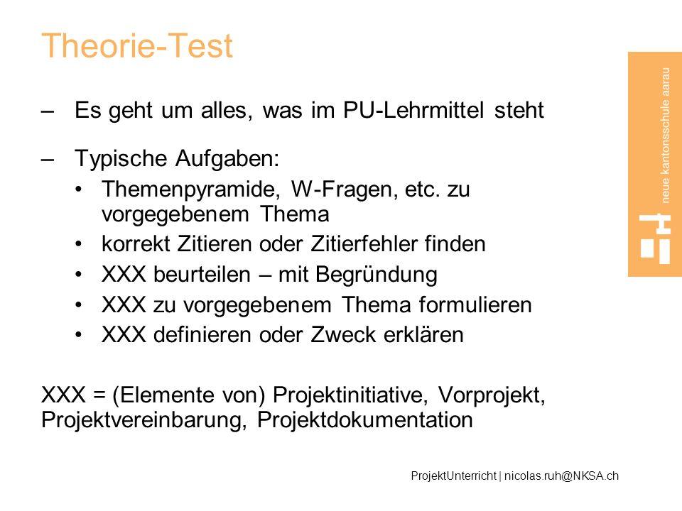 Theorie-Test Es geht um alles, was im PU-Lehrmittel steht