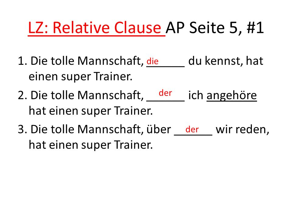 LZ: Relative Clause AP Seite 5, #1