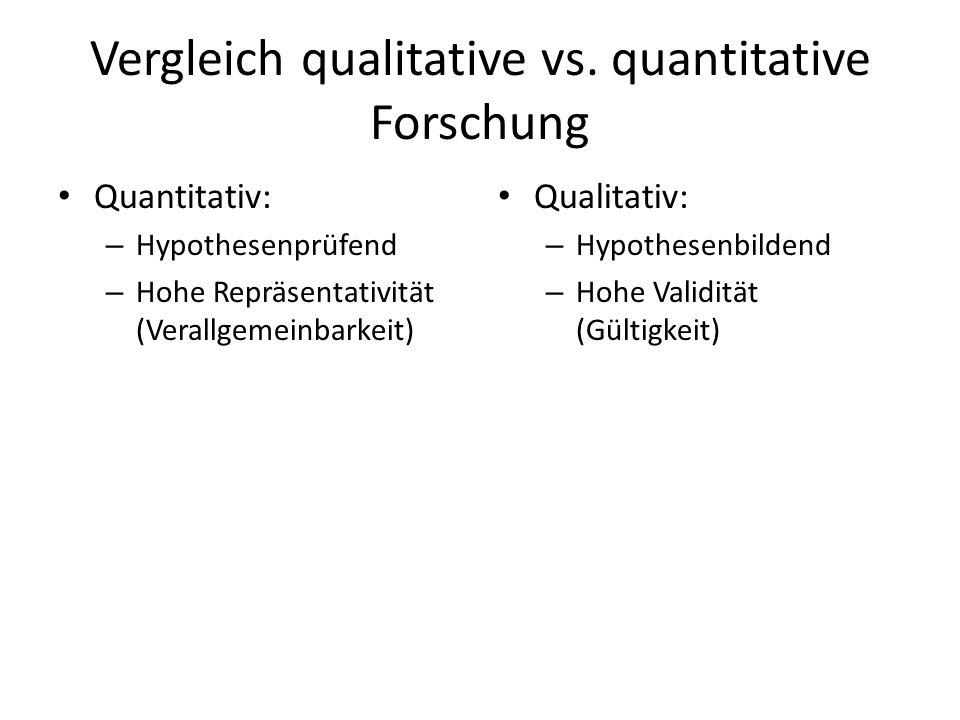 Vergleich qualitative vs. quantitative Forschung