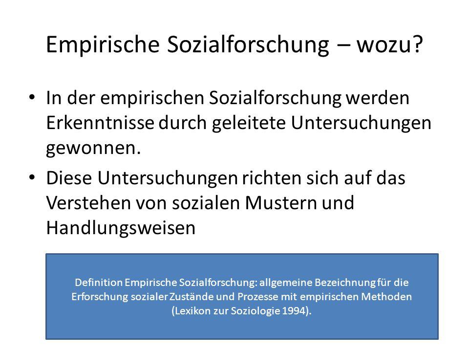 Empirische Sozialforschung – wozu
