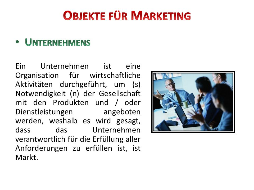 Objekte für Marketing Unternehmens