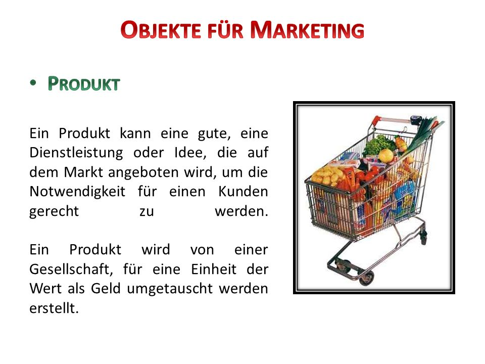 Objekte für Marketing Produkt