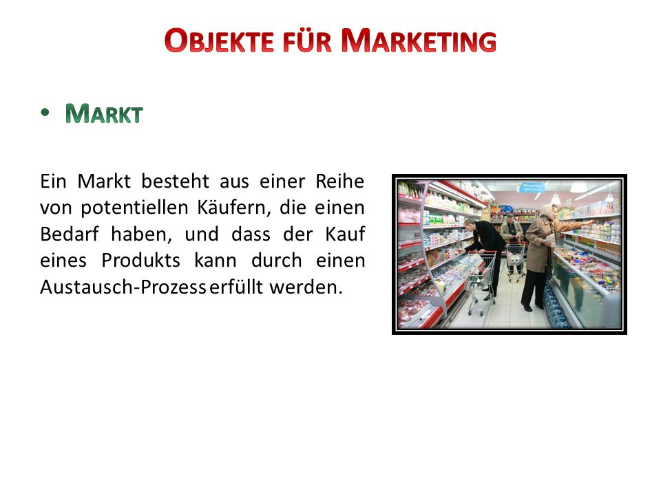 Objekte für Marketing Markt
