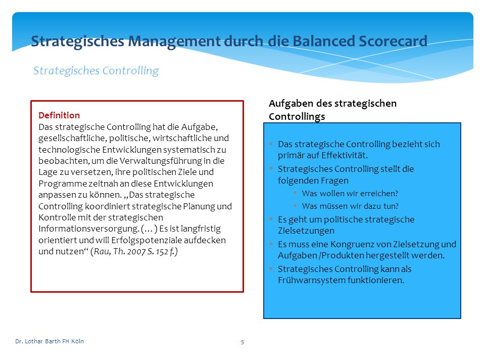 Strategisches Management durch die Balanced Scorecard