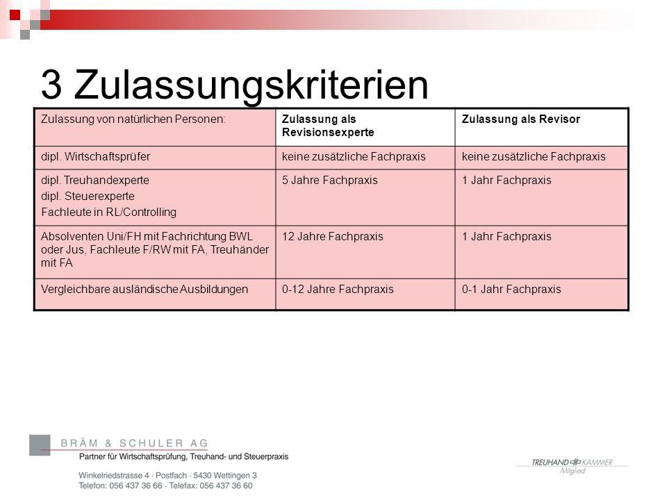 3 Zulassungskriterien Zulassung von natürlichen Personen: