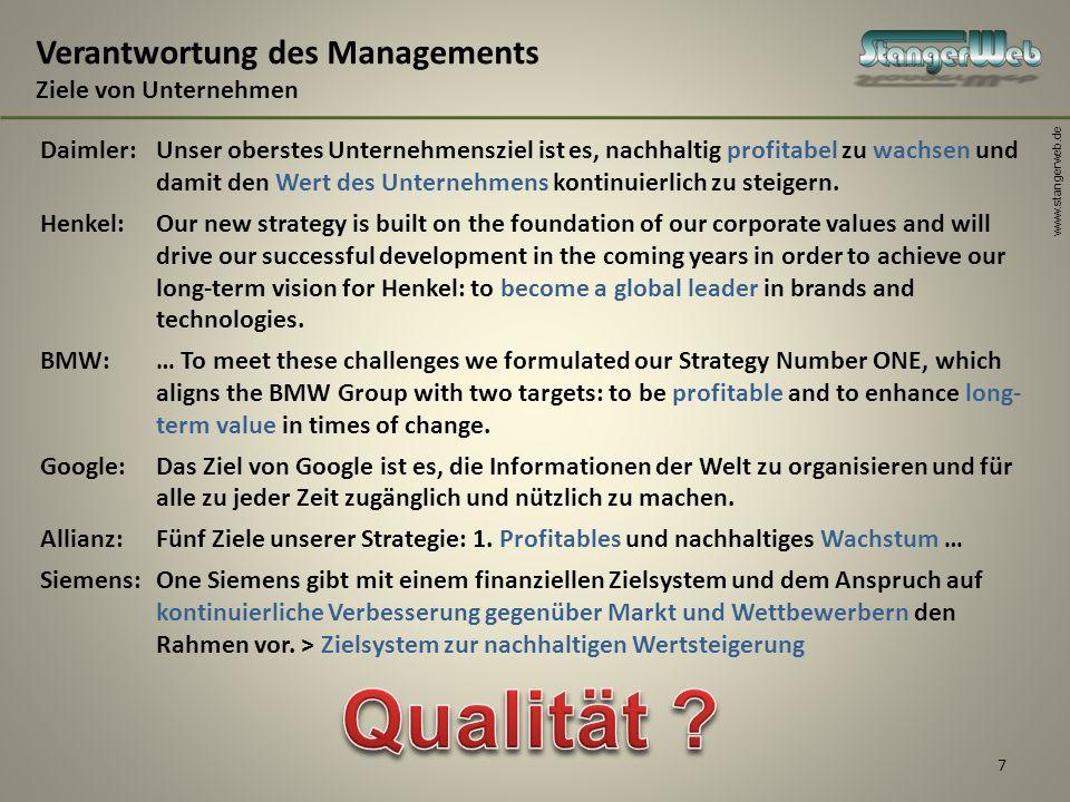 Verantwortung des Managements Ziele von Unternehmen