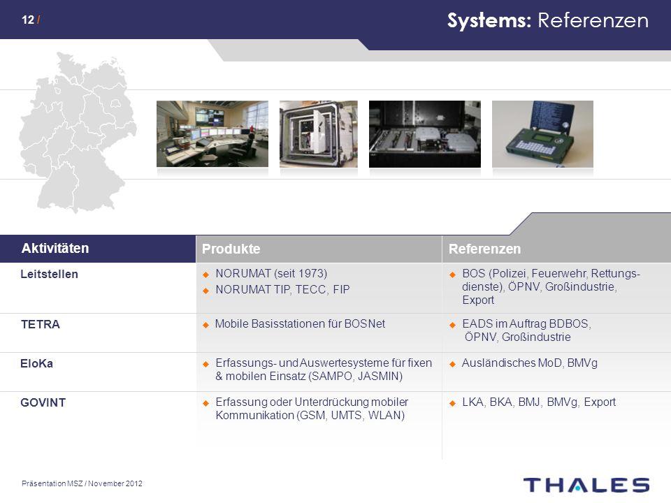 Systems: Referenzen Aktivitäten Produkte Referenzen Leitstellen TETRA