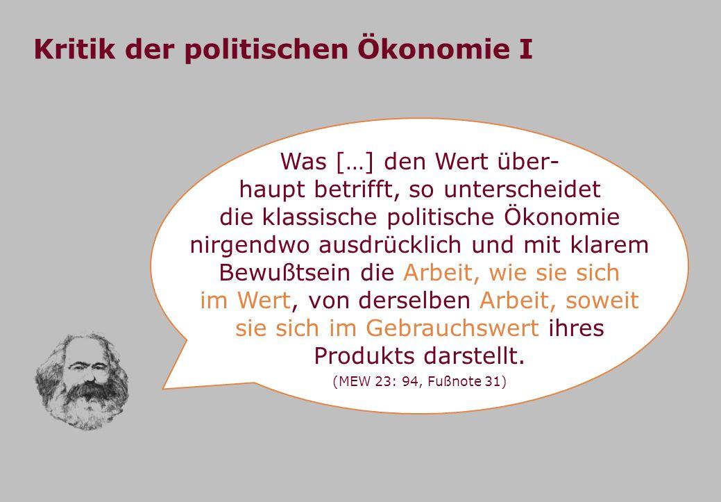 Kritik der politischen Ökonomie I