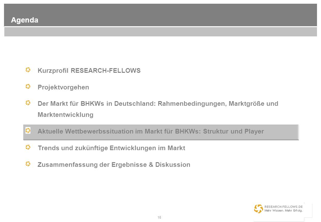 Agenda Kurzprofil RESEARCH-FELLOWS Projektvorgehen