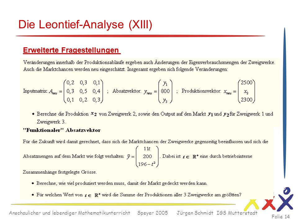 Die Leontief-Analyse (XIII)