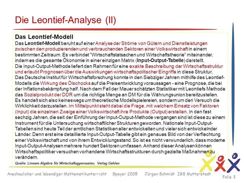 Die Leontief-Analyse (II)