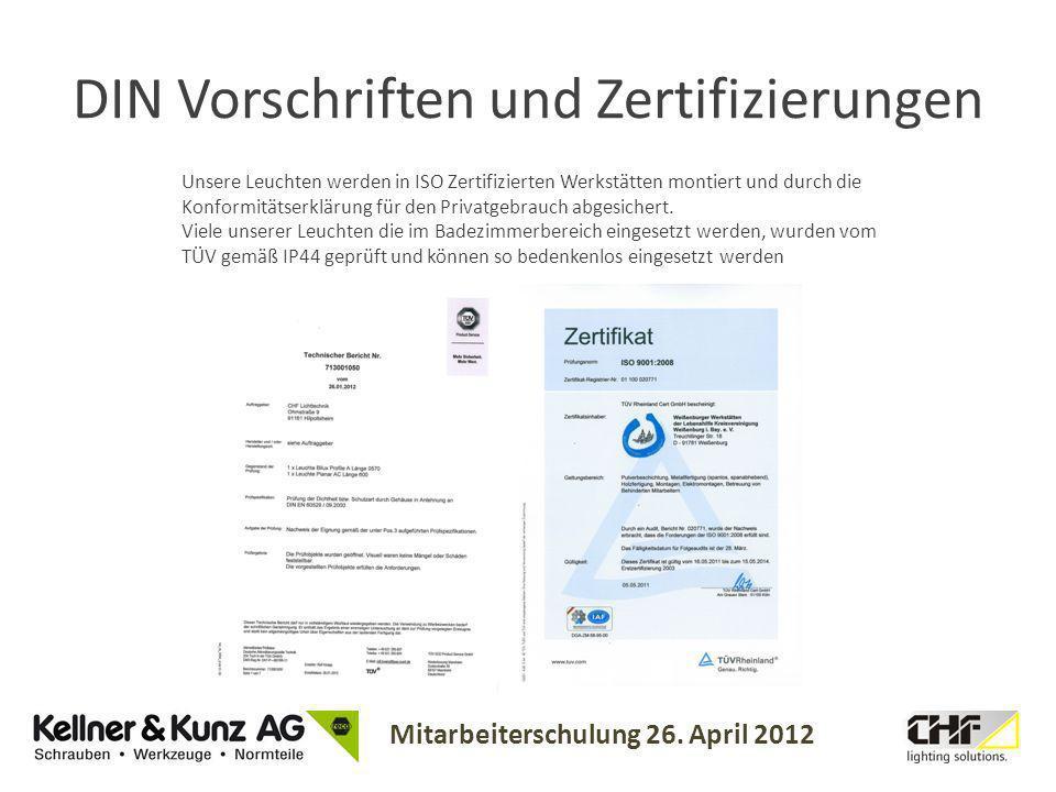 DIN Vorschriften und Zertifizierungen