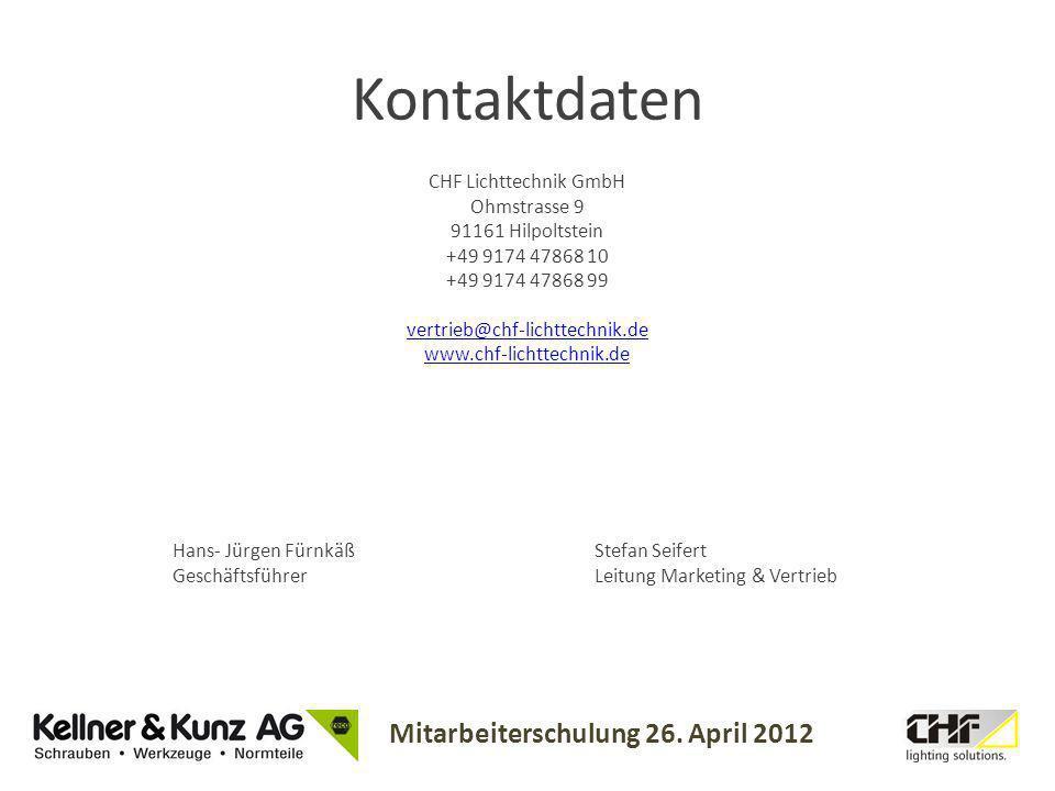 Kontaktdaten CHF Lichttechnik GmbH Ohmstrasse 9 91161 Hilpoltstein