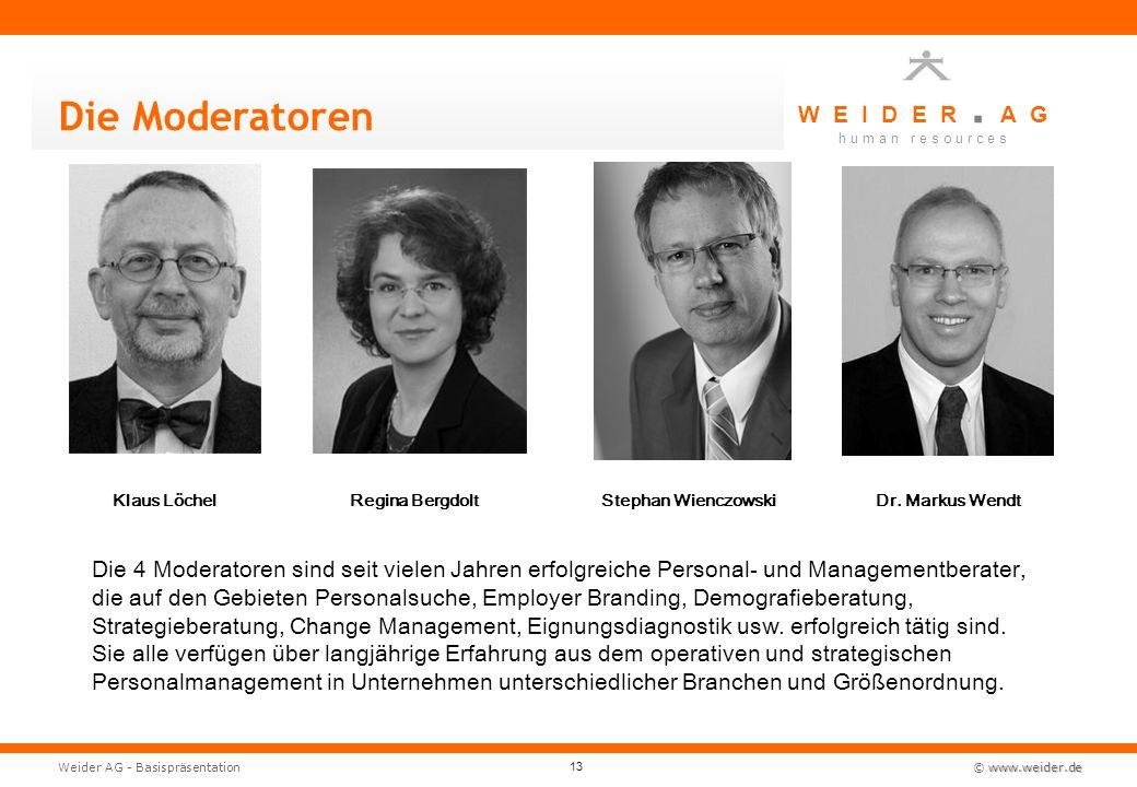Die Moderatoren Klaus Löchel. Regina Bergdolt. Stephan Wienczowski. Dr. Markus Wendt.