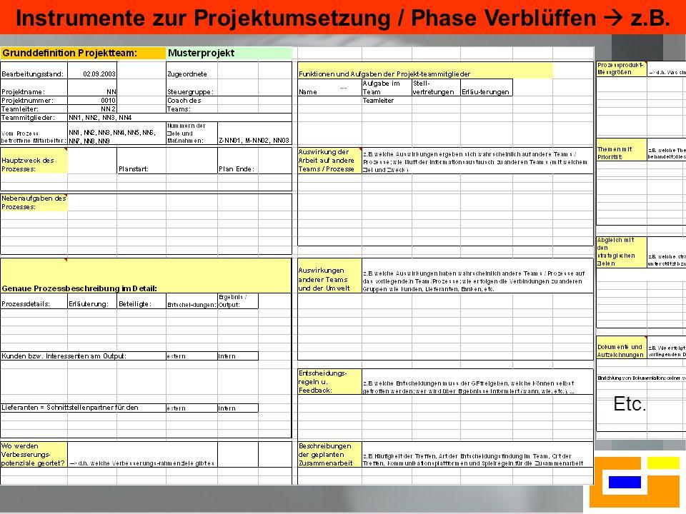Instrumente zur Projektumsetzung / Phase Verblüffen  z.B.