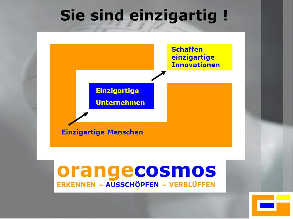 orangecosmos Sie sind einzigartig ! Schaffen einzigartige Innovationen
