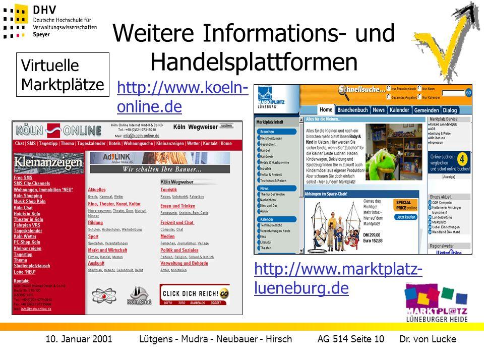 Weitere Informations- und Handelsplattformen