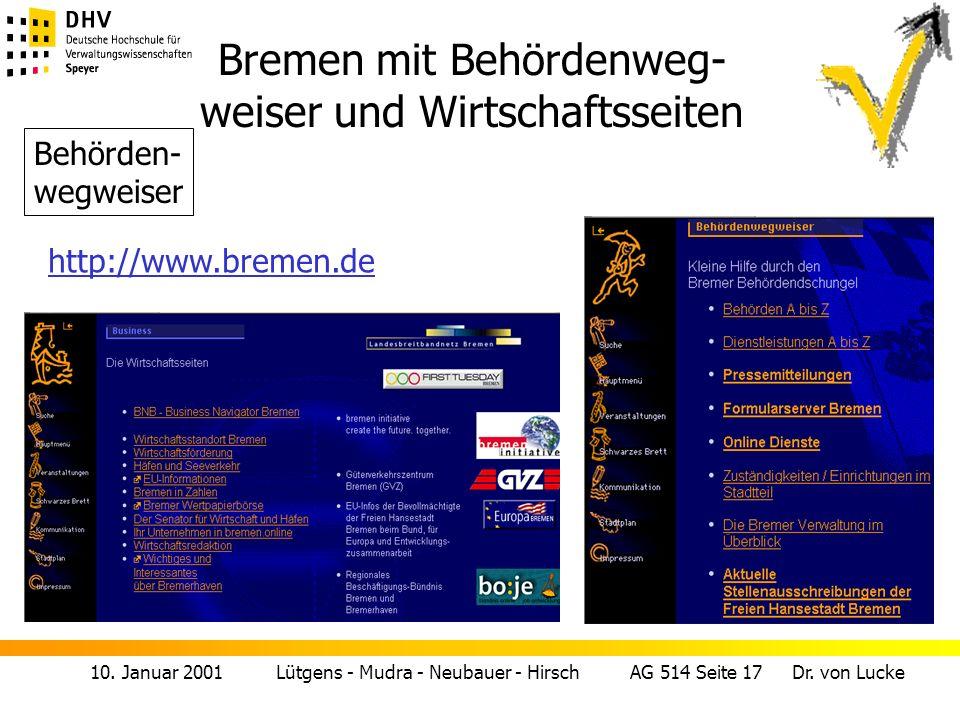 Bremen mit Behördenweg- weiser und Wirtschaftsseiten