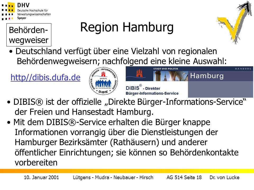 Region Hamburg Behörden- wegweiser