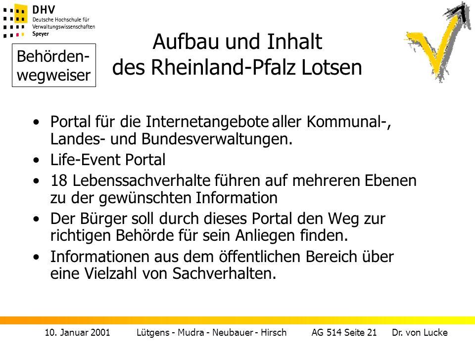 Aufbau und Inhalt des Rheinland-Pfalz Lotsen