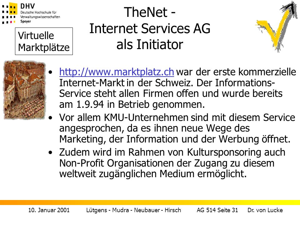 TheNet - Internet Services AG als Initiator