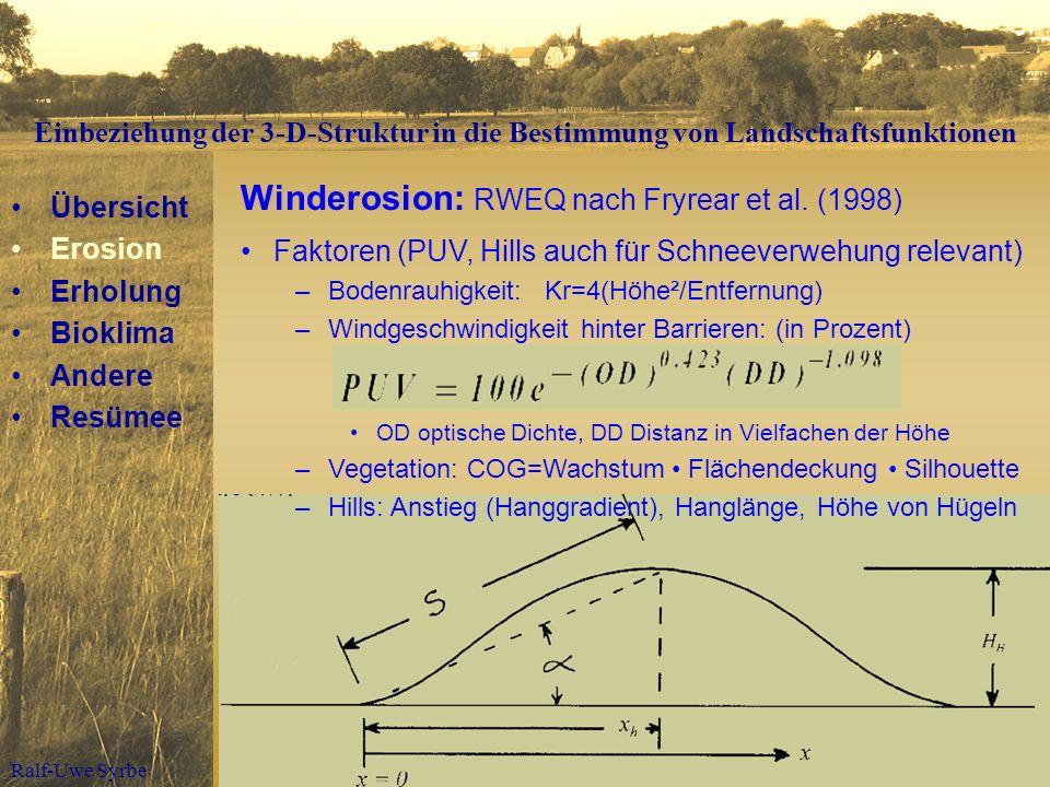Winderosion: RWEQ nach Fryrear et al. (1998)