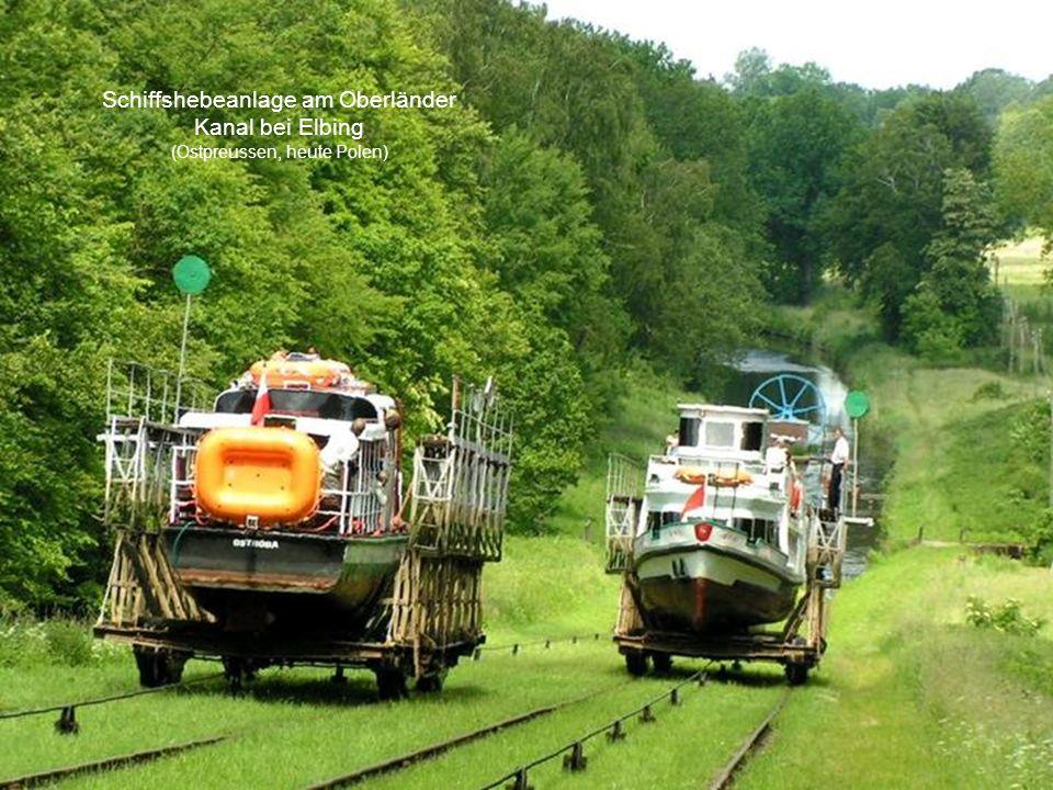 Schiffshebeanlage am Oberländer Kanal bei Elbing (Ostpreussen, heute Polen)