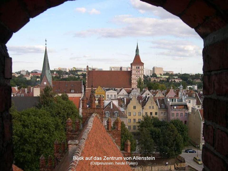 Blick auf das Zentrum von Allenstein (Ostpreussen, heute Polen)