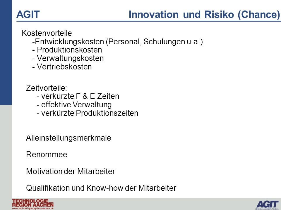 AGIT Innovation und Risiko (Chance)