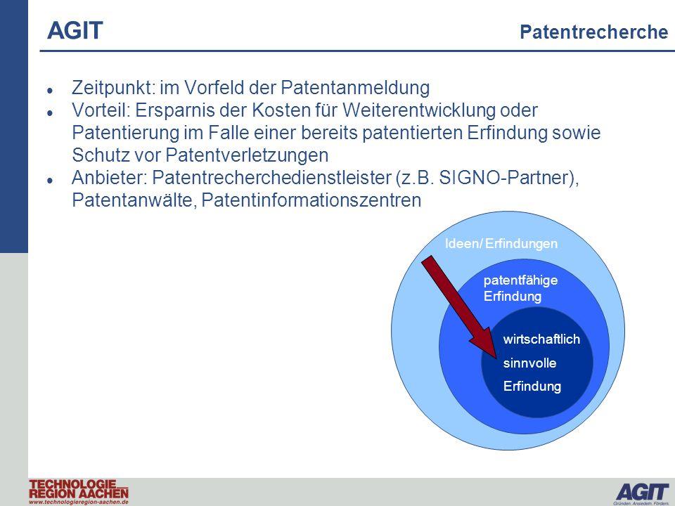AGIT Patentrecherche Zeitpunkt: im Vorfeld der Patentanmeldung