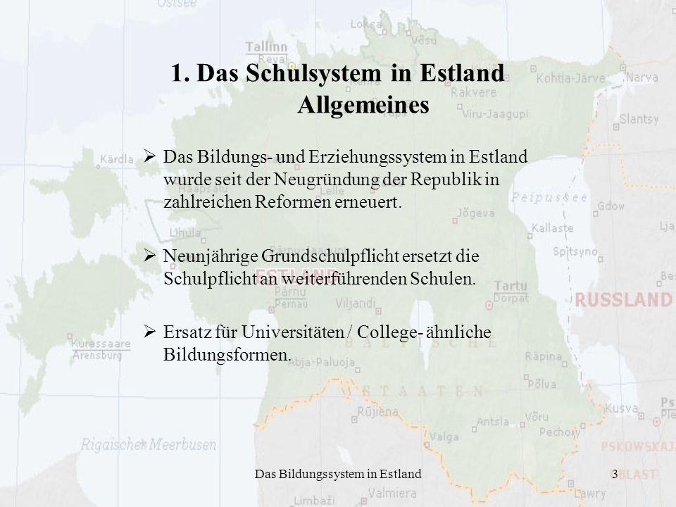 1. Das Schulsystem in Estland Allgemeines