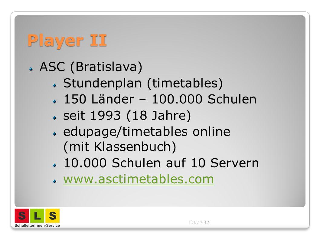 Player II ASC (Bratislava) Stundenplan (timetables)