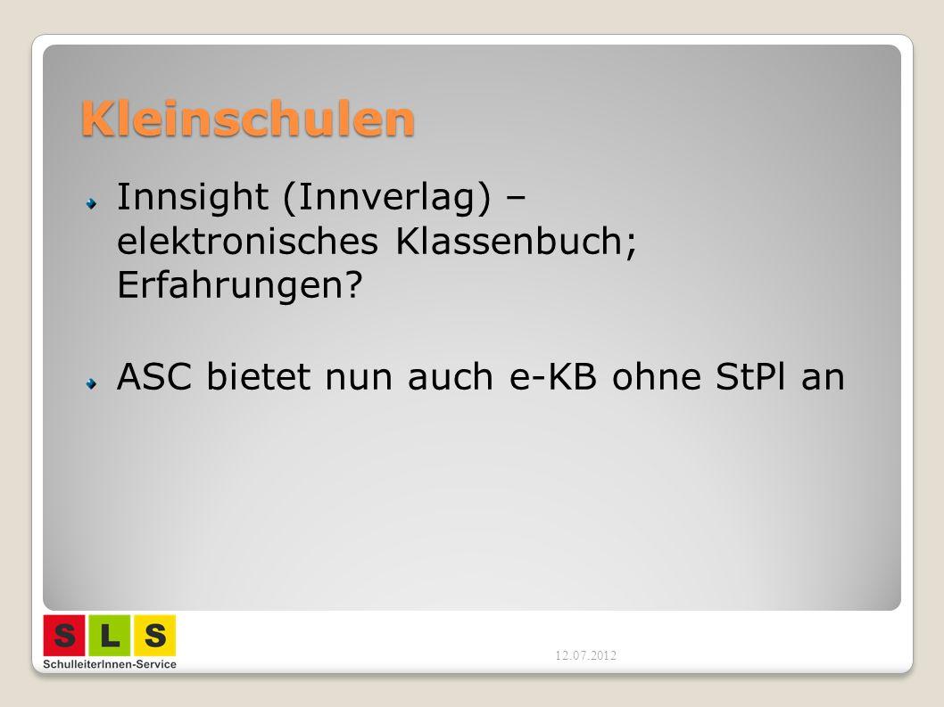 Kleinschulen Innsight (Innverlag) – elektronisches Klassenbuch; Erfahrungen ASC bietet nun auch e-KB ohne StPl an.