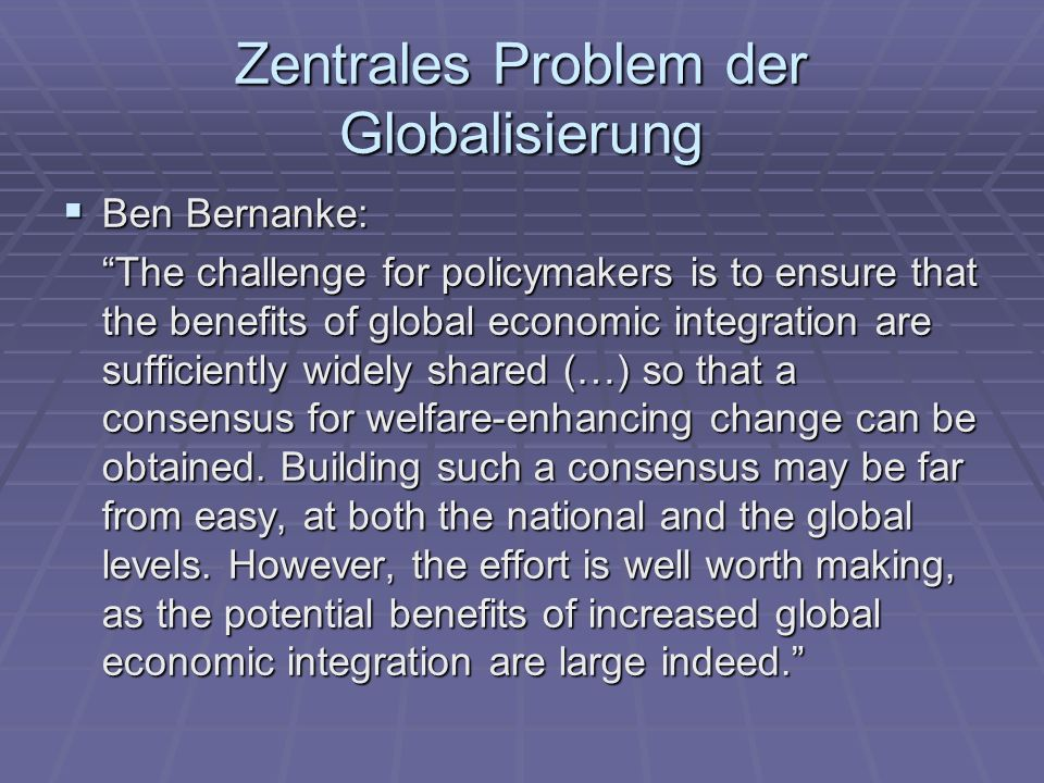 Zentrales Problem der Globalisierung