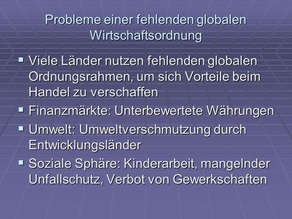 Probleme einer fehlenden globalen Wirtschaftsordnung