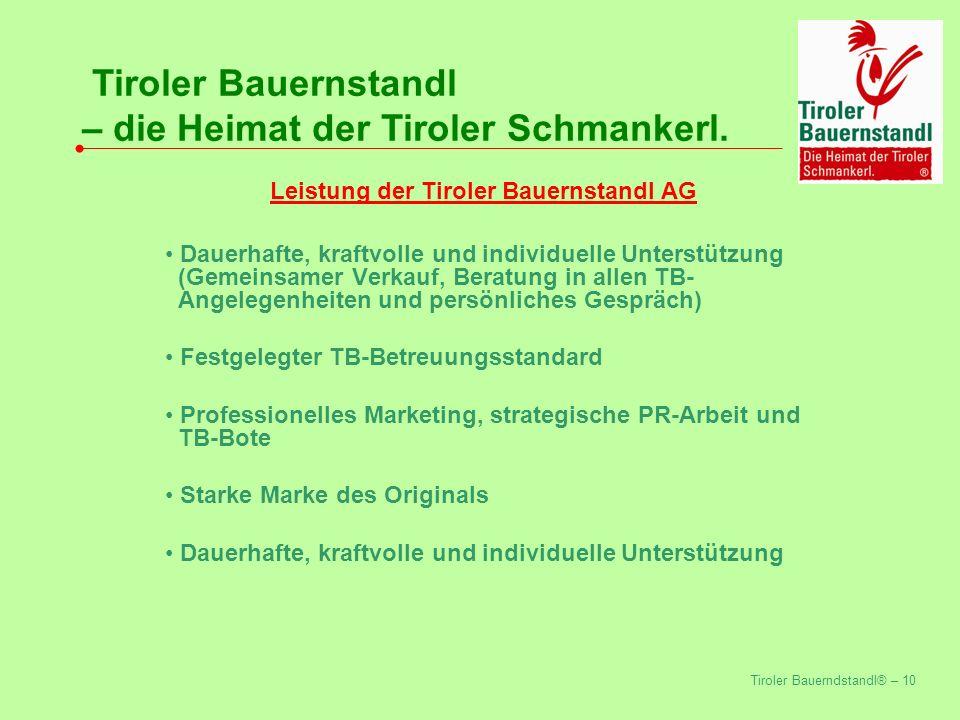 Leistung der Tiroler Bauernstandl AG
