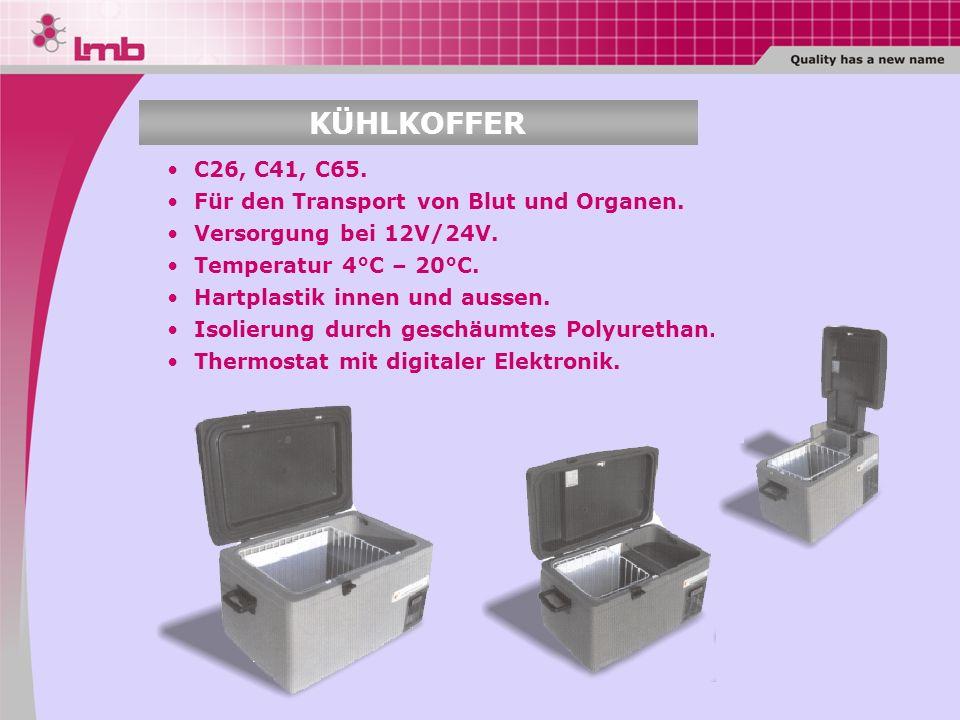 KÜHLKOFFER C26, C41, C65. Für den Transport von Blut und Organen.