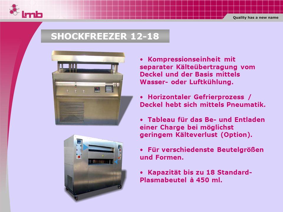 SHOCKFREEZER 12-18 Kompressionseinheit mit separater Kälteübertragung vom Deckel und der Basis mittels Wasser- oder Luftkühlung.