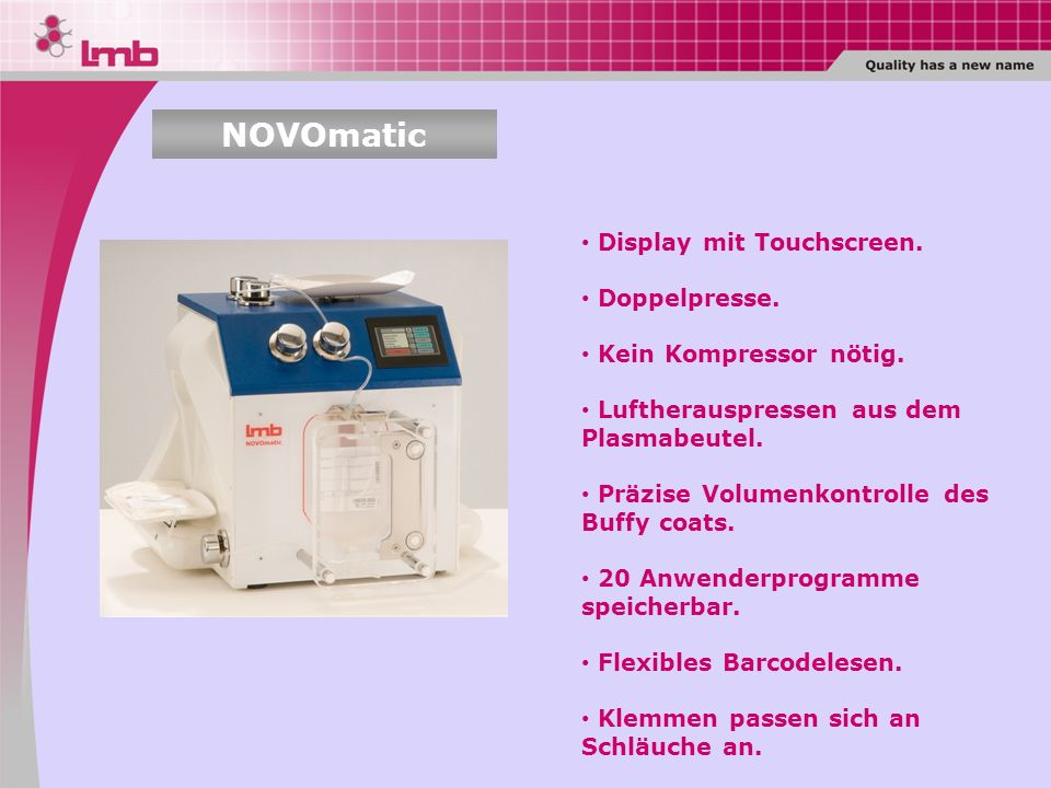 NOVOmatic Display mit Touchscreen. Doppelpresse.