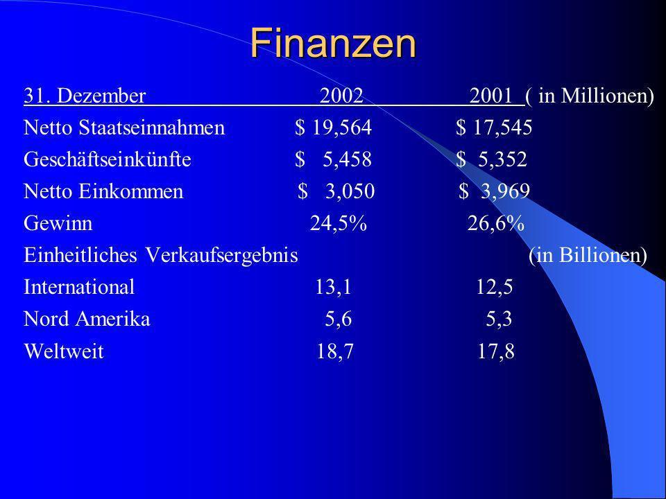 Finanzen 31. Dezember 2002 2001 ( in Millionen)